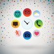 Apps icons with Retro polka dots Background. — Stock Vector #64051115