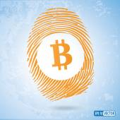 Bitcoin currency symbol in a thumbprint — Stock Vector