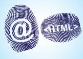 HTML and EMail symbol in thumbprint — Stock Vector