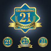 Set of 4 - Celebrating 21 Years Anniversary — Stock Vector