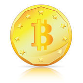 Bitcoin currency symbol on gold coin — Stock Vector