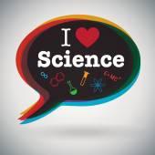 Speech bubble - I Love Science — Stock Vector