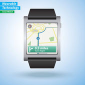 Gps tour à tour carte Directions sur Smartwatch — Vecteur