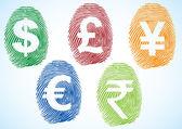 Währung-Symbole-Fingerabdruck — Stockvektor