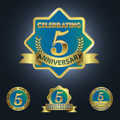 Set of 4 - Celebrating 5 Years Anniversary — Stock Vector