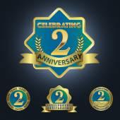 Set of 4 - Celebrating 2 Years Anniversary — Stock Vector