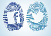 Fingerprint with social network Symbol — Stock Vector