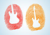 A thumbprint with the guitar icon on it — Stock Vector