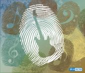 Guitar and Music Notes Symbol on Thumbprint — Stock Vector