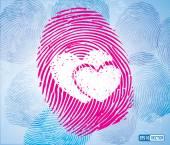 Pair of Heart Symbol on Thumbprint — Stockvektor