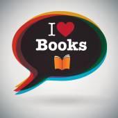 I Love Books — Stock Vector