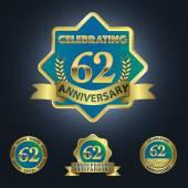 Celebrating 62 Years Anniversary — Stock Vector