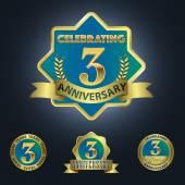 Set of 4 - Celebrating 3 Years Anniversary — Stock Vector
