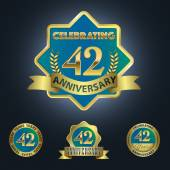 Celebrating 42 Years Anniversary — Stock Vector
