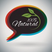 Green 100 Natural,Organic, herbal speech bubble — Vettoriale Stock