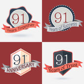 91Anniversary, 91 years together — Stock Vector