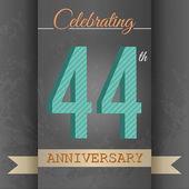 44th Anniversary poster, template design — Stock Vector