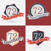 72nd Anniversary - Set of Retro  Stamps and Seal — Stock Vector