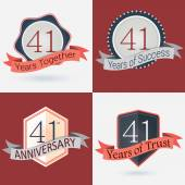 41st Anniversary  - Set of Retro  Stamps and Seal — Stock Vector