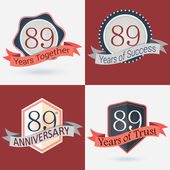 89th Anniversary  - Set of Retro Stamps and Seal — Stock Vector