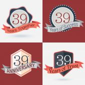 39th Anniversary - Set of Retro  Stamps and Seal — Stock Vector