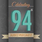 94th Anniversary poster , template design — Stock Vector