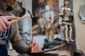 Sicilian puppet artisan at work — Stock Photo