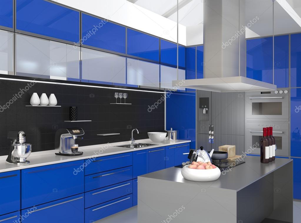 Moderne keuken interieur met slimme apparaten in blauwe kleur co rdinatie stockfoto chesky w - Moderne apparaten ...