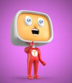 Curious TV-man standing on pink background — Zdjęcie stockowe