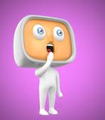 Pie tv-hombre curioso sobre fondo rosa — Foto de Stock
