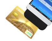 Credit card swiping through a mobile payment attachment for smartphone — Stock Photo