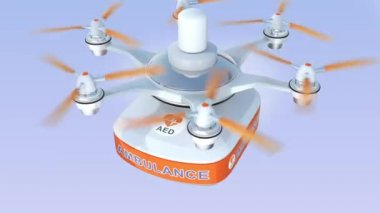 Drone carrying AED medical kit for emergency medical care concept — 图库视频影像