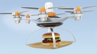 Air drone serving hamburger for fast food take out concept — Stock Video