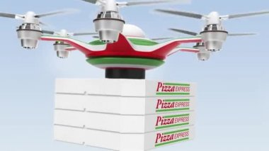 Air drone delivering pizza  for fast food take out concept — Stock Video
