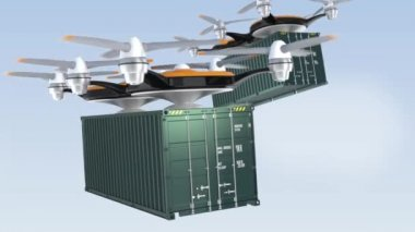Heavy drones delivering cargo containers in sky — Stock Video