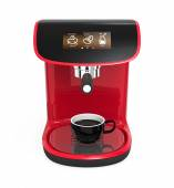 Stylish red coffee machine with touch screen — Stock Photo