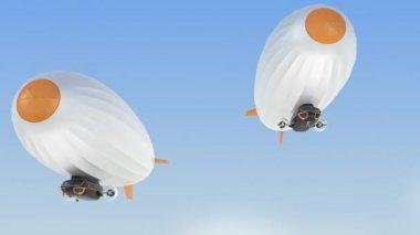 Yellow biplane pass through airships fleet — Wideo stockowe