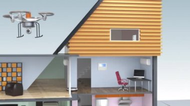 Demonstration of smart house concept. Powered by solar and wind energy — Stock Video