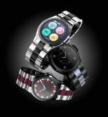 Smart watches with metal band isolated on black background. — Stock Photo