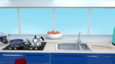 Modern kitchen interior in blue color coordination — Stock Video