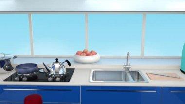 Modernt kök interiör i blå färg samordning — Stockvideo