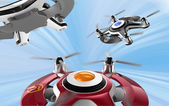 Red racing drones chasing in the sky. Original design. — Stock Photo