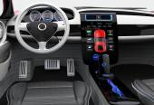 Futuristic electric vehicle dashboard and interior design. 3D rendering image with clipping path. — Stock Photo
