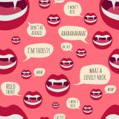 Frisky vampire mouth with sharp fangs - seamless vector pattern — Stock Vector