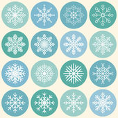 Diversity of snowflakes - vector template flat icons — Vettoriale Stock