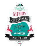 Merry christmas vector with text and icons — Stock Vector