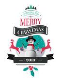 Vector feliz Navidad con texto e iconos — Vector de stock