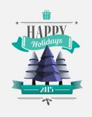 Happy holidays message with illustrations — Stock Vector