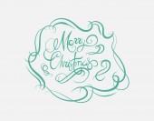 Merry christmas message vector in cursive green — Stock Vector