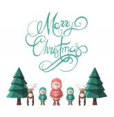 Merry christmas message vector with cute illustrations — Stockvector